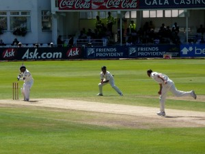 Chris Tremlett bowling at Trent Bridge, 2nd Test against India, 2007