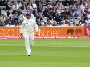 Tendulkar in the field, Day One